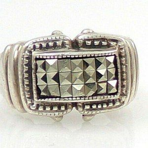 Sterling Pave Marcasite Dome Buckle Ring